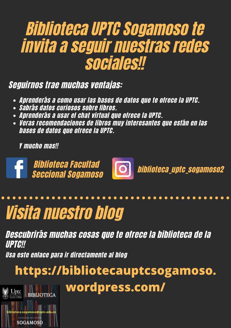 Publicidad redes sociales UPTC biblioteca